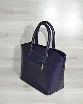 """Классическая женская сумка «Две змейки """" синяя рептилия лаковая, фото 2"""
