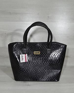 Классическая женская сумка «Две змейки» черная кобра, фото 2