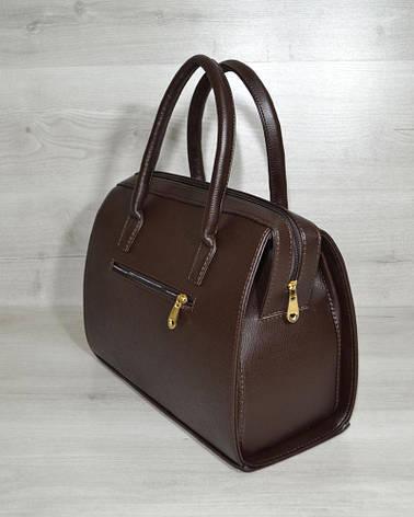 Каркасная женская сумка Саквояж коричневый гладкий материал, фото 2