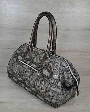 Классическая женская сумка Оливия серая змея, фото 2
