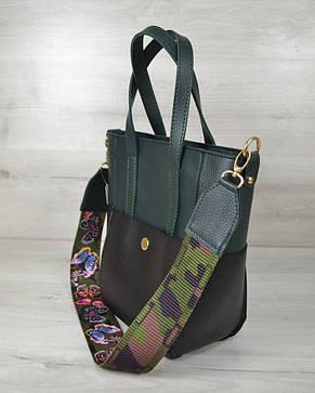 Молодежная женская сумка Милана  с Ярким ремнем черная с зеленым, фото 2