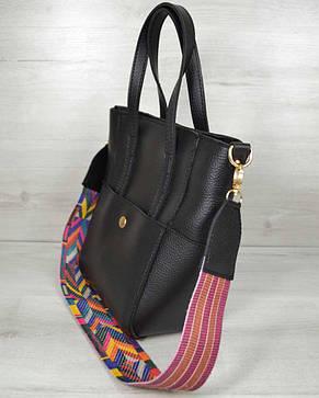 Молодежная женская сумка Милана  с Ярким ремнем черного цвета, фото 2