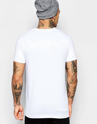 Мужская хлопковая белая однотонная футболка, фото 2