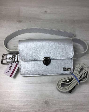 Женская сумка на пояс- клатч Арья серебряного цвета, фото 2