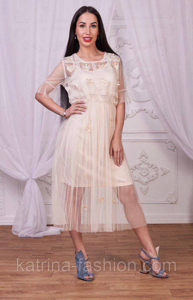 Женское легкое платье из органзі и фатина (2 цвета)