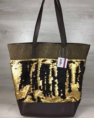 Сумка Резинка коричневого цвета с пайетками золото-черный, фото 2