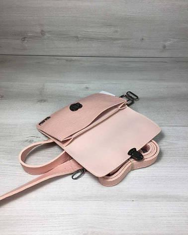 Женская сумка на пояс- клатч Арья пудрового цвета с черепашьем теснением, фото 2