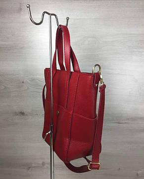 Молодежная женская сумка Милана с классическим ремнем красного цвета, фото 2