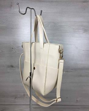 Молодежная женская сумка Милана  с классическим ремнем бежевого цвета, фото 2