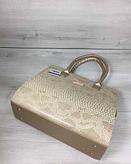 Женская сумка Бочонок золотого цвета со вставкой бежевая рептилия, фото 2