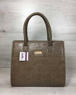 Женская сумка Бочонок кофейного цвета со вставкой кофейная рептилия, фото 2