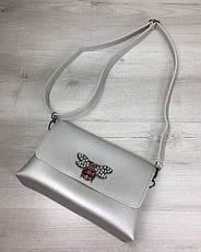 Женская сумка- клатч Келли серебряного цвета (никель), фото 3