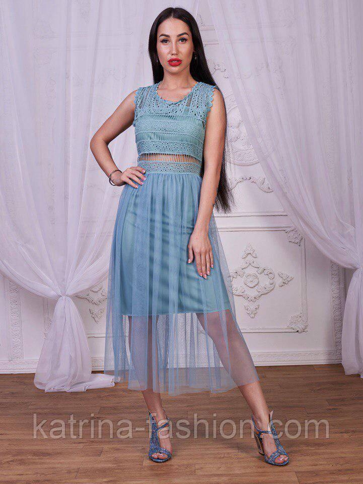 Женское платье с фатином и гипюром (4 цвета)