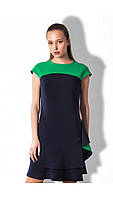 Платье синее с воланам, платье креповое летнее красивое, фото 1