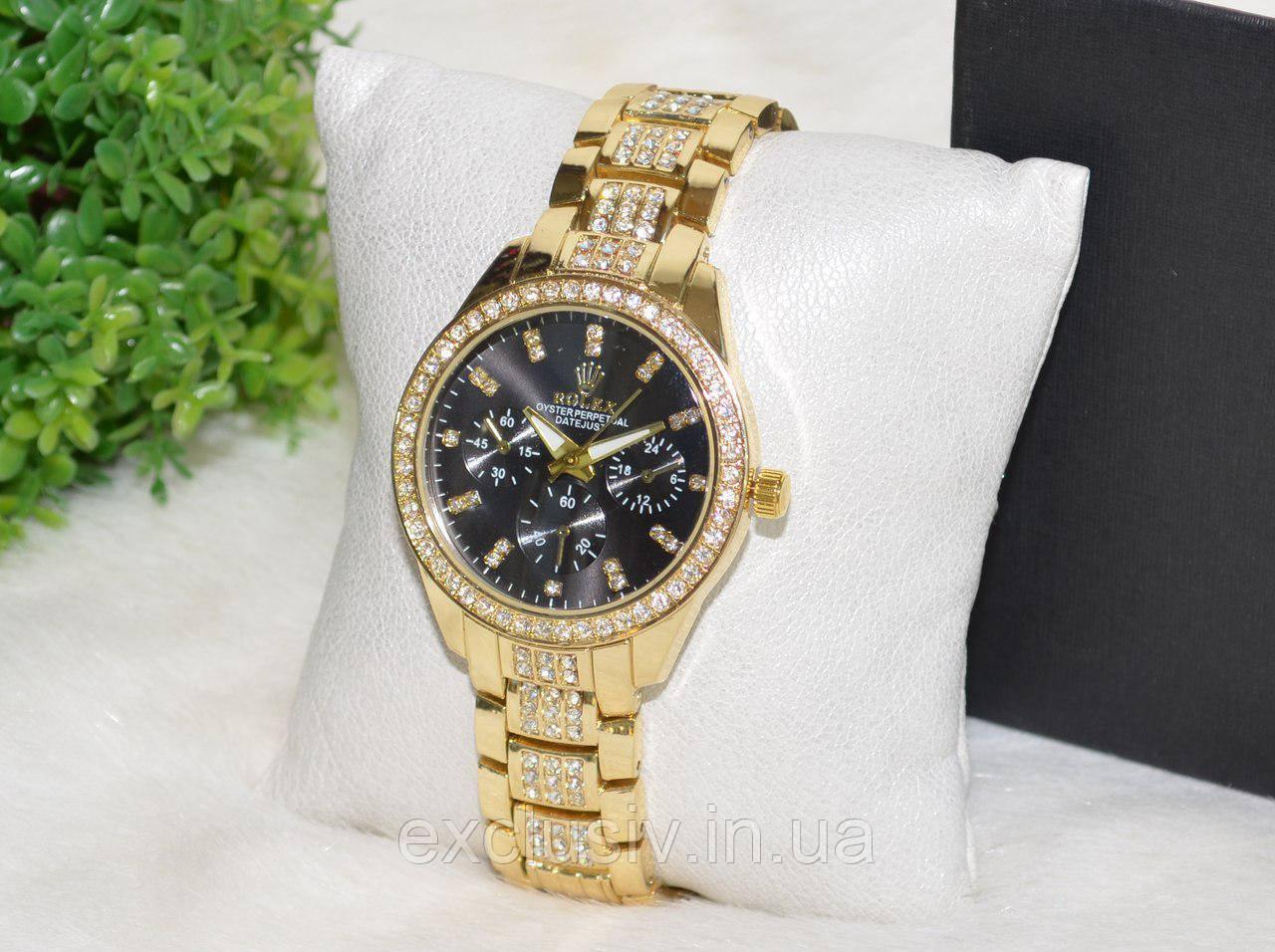 Женские Часы Ролекс ( Rolex ) Стразы Золотые с Черным Циферблатом. — в  Категории
