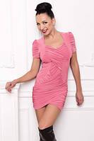 Платье туника женская летняя, туника розовая масло ткань, туника облегающая красивая молодежная, , фото 1
