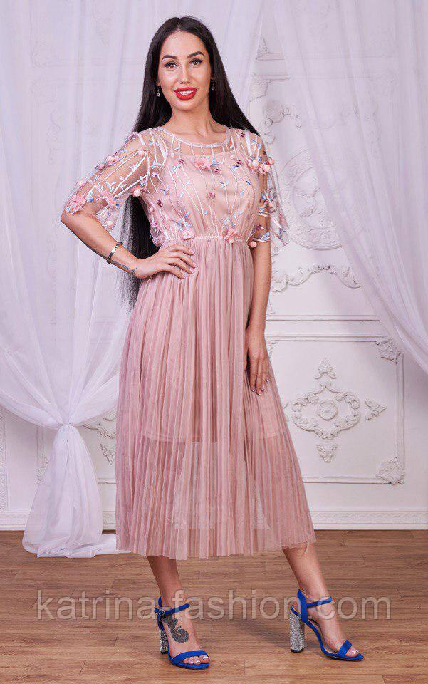 45ae0ad8960a Женское стильное платье с цветочным принтом и плиссировкой (2 цвета ...