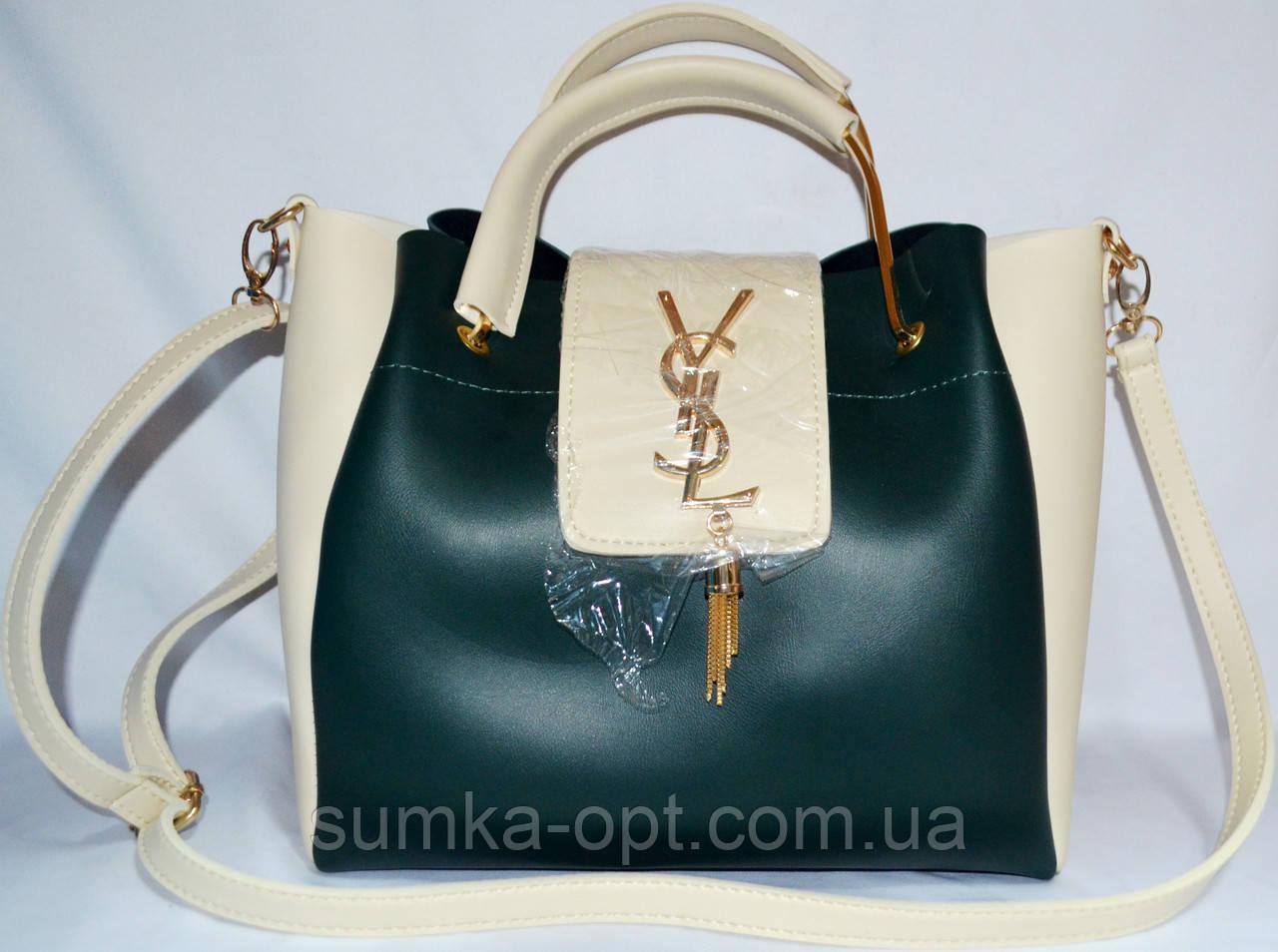 66819bfb61e5 Женские сумки брендовые YSL 2-в-1 эко кожа(зеленый-молочный)24*27 ...