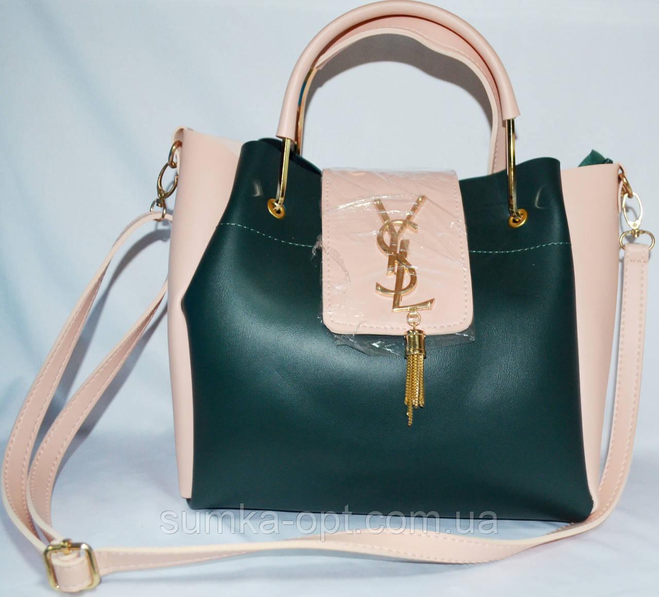 53dfcdf3c748 Женские сумки брендовые YSL 2-в-1 эко кожа(зеленый-пудра)24*27 ...