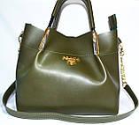 Женские сумки брендовые Prada 2-в-1 эко кожа (бордо)25*31, фото 2