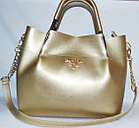 Женские сумки брендовые Prada 2-в-1 эко кожа (бордо)25*31, фото 3
