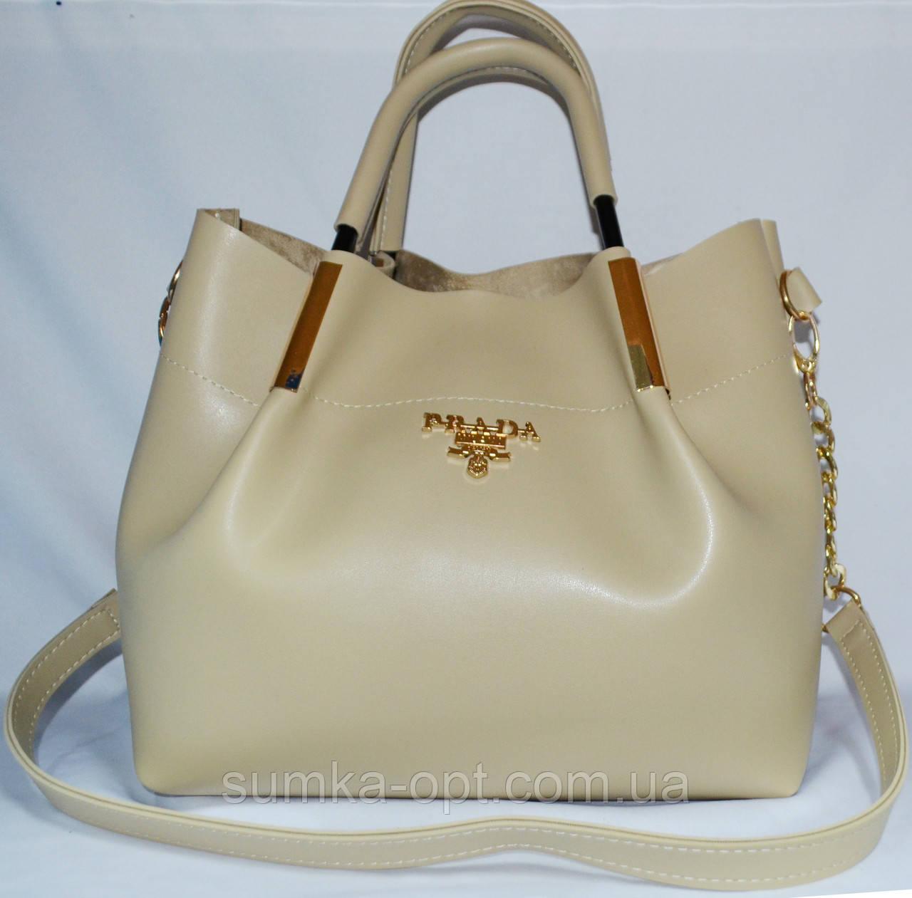 Женские сумки брендовые Prada 2-в-1 эко кожа (молочный)25*31