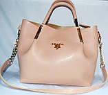 Женские сумки брендовые Prada 2-в-1 эко кожа (бордо)25*31, фото 8