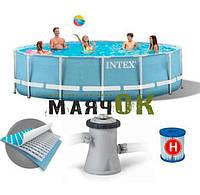 Каркасный бассейн круглый Intex 28712, 366х76см, фильтр-насос картр