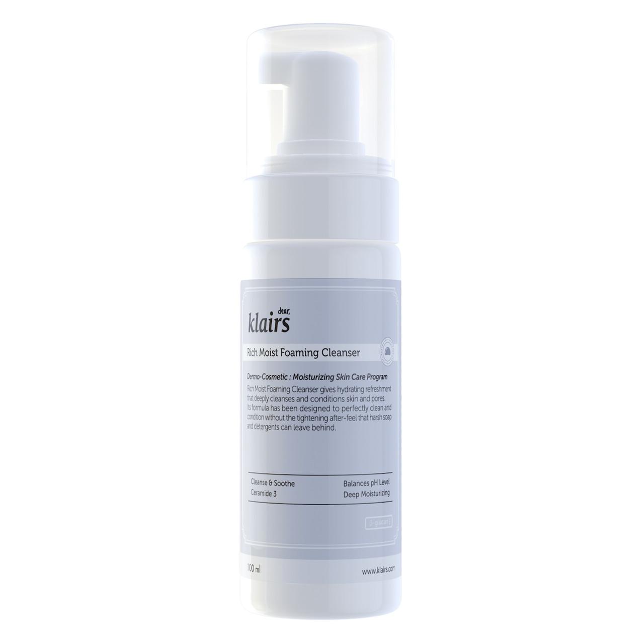 Klairs Rich Moist Foaming Cleanser Гипоаллергенная очищающая пенка с бета глюканом