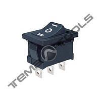 Перемикачі клавішні (рокерные) КП-7-220В, 3 контакту, ON-OFF-ON з фіксацією, малий розмір корпусу