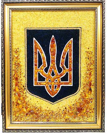 Тризуб Герб Украины из янтаря в подарок руководителю, фото 2