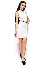 Красивое платье короткое без рукав по фигуре с поясом белое, фото 2