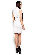 Красивое платье короткое без рукав по фигуре с поясом белое, фото 3