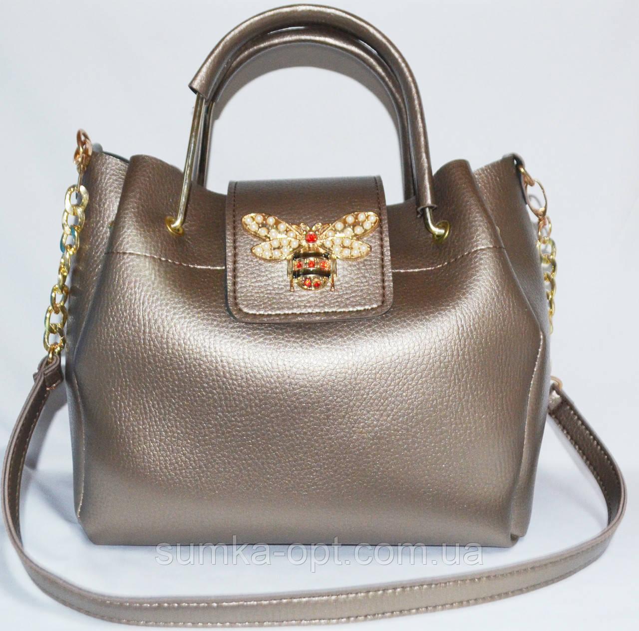 Женские сумки брендовые 2-в-1(бронза)25*25