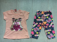 """Летний детский костюм для девочки 2-5 лет,""""Мишка"""",персиковый"""
