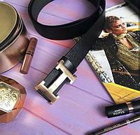 Ремни Хермес золото/серебро (кожа) гладкие, кожаные мужские ремни, качественные ремни хермес, hermes
