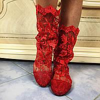 Красные красивые летние кружевные гипюровые ажурные сапожки с ленточкой. Арт-0005, фото 1