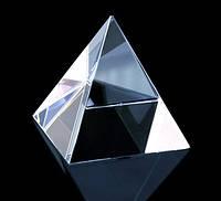 """Пирамида """"Хрустальная"""" 4,9*4,9*5,5см. кварцевое стекло -  отличный талисман для всей семьи"""