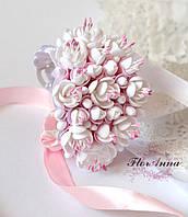 """Браслет с цветами в подарок девушке """"Бело-розовый жасмин"""""""