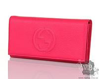 Розовый кожаный кошелек GUCCI GLN 514 ROSE
