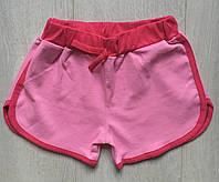 Шорты детские для девочки от 5 до 8лет,розовые с малиновым поясом
