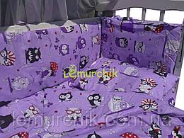 """Детское постельное бельё (8 предметов) """"Совята"""" фиолетовое"""