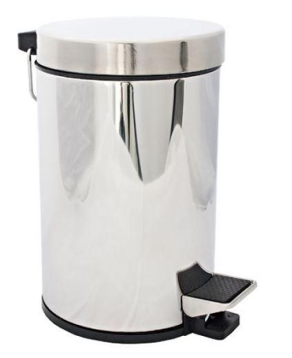 Ведро для мусора мусорное с педалью и крышкой на 3 л. в хроме 0540