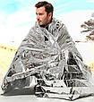 Спасательное термо одеяло пакет покрывало из фольги, фото 5