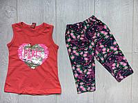 """Летний детский костюм для девочки 2-5 лет,""""Сердце Paris"""",красного цвета"""