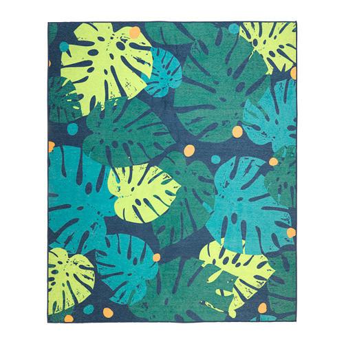 Ковер IKEA URSKOG 133x160 см безворсовый с рисунком листьев зеленый 003.939.03