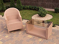 Кресло плетеное для ресторана, кафе, летней площадки из искусственного ротанга