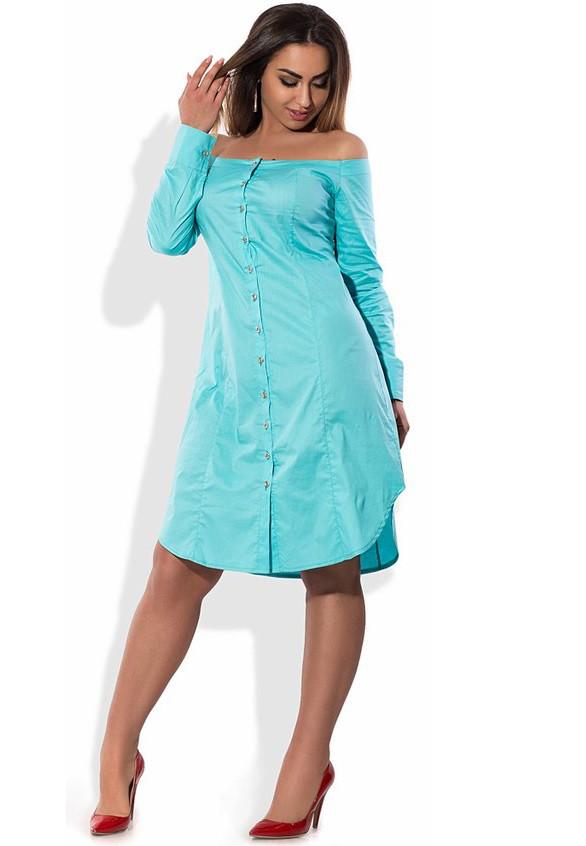 Голубое платье рубашка с открытыми плечами размеры от XL ПБ-417