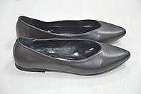 Черные кожаные балетки с острым носком Kore Италия, фото 1