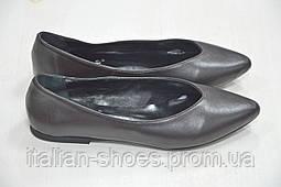 Черные кожаные балетки с острым носком Kore Италия